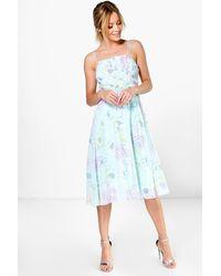 Boohoo - Blue Lorelai Pleated Floral Print Strappy Midi Dress - Lyst