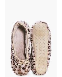 Boohoo - Natural Sarah Leopard Print Ballet Slipper - Lyst