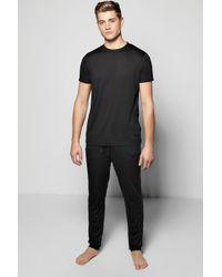Boohoo | Black Stretch Lounge Short Sleeve T-shirt Pj Set for Men | Lyst