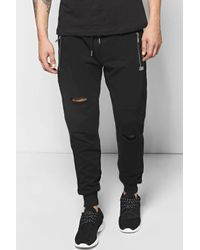 Boohoo - Black Skinny Fit Distressed Panel Joggers for Men - Lyst