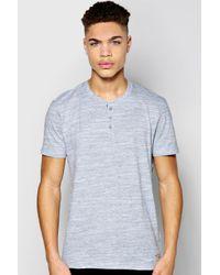Boohoo - Gray Space Dye Henley Tshirt for Men - Lyst