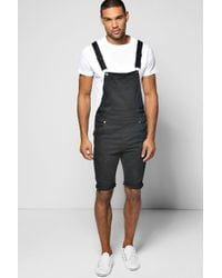 fae2a07ea98e Boohoo Slim Fit Denim Dungaree Shorts With Rips in Black for Men - Lyst