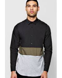 Boohoo - Black Slim Fit Panel Jersey Mix Shirt for Men - Lyst