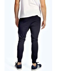 Boohoo - Blue Skinny Fit Waffle Joggers for Men - Lyst