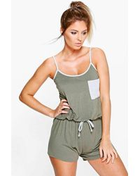 Boohoo | Blue Layla Contrast Binding And Pocket Teddy | Lyst