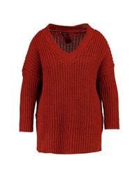 Boohoo | Red Plus Jenny V Neck Oversize Tunic | Lyst