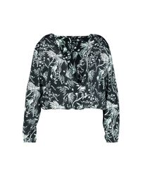 Boohoo - Black Plus Willow Satin Printed Wrap Front Blouse - Lyst