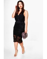 Boohoo | Black Plus Tara Lace Pencil Skirt | Lyst