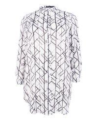 Boohoo - White Plus April Grid Print Shirt Dress - Lyst