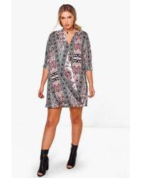 Boohoo - Multicolor Plus Bella Monochrome Paisley Wrap Dress - Lyst