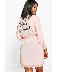 Boohoo - Pink Plus Rae Bride Squad Slogan Lace Detail Bridal Robe - Lyst