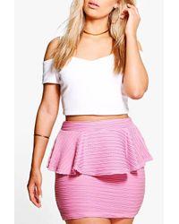 Boohoo Black Plus Heather Peplum Mini Skirt