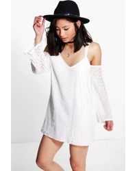 Boohoo - White Petite Mia All Over Lace Cold Shoulder Shift Dress - Lyst