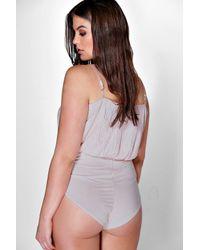 Boohoo   Gray Plus Jenny Pleated Wrap Front Bodysuit   Lyst