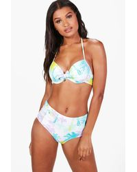 Boohoo - White Hawaii Mix & Match Palm Underwired Top - Lyst