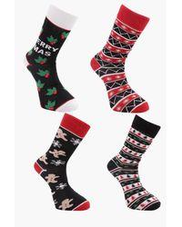 Boohoo Multicolor 4 Pack Christmas Fairisle Socks for men