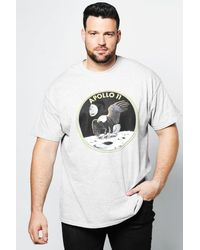 Boohoo - Gray Big And Tall Nasa Apollo T-shirt for Men - Lyst