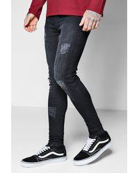 2ff36f57587cc Lyst - Boohoo Spray On Skinny Black Distressed Jeans in Black for Men