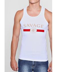 Boohoo - White Savage Print Muscle Fit Vest for Men - Lyst