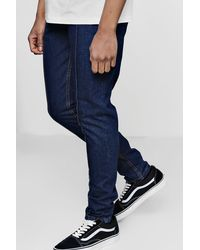 Boohoo - Blue Tapered Fit Jeans With Pin Tuck Seam Detail for Men - Lyst
