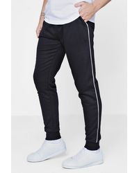 Boohoo - Black Super Skinny Jogger With Piping for Men - Lyst
