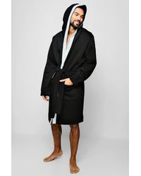659a39debc6d BoohooMAN Jersey Fleece Hooded Robe With Man Taping in Black for Men ...
