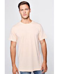 fe4d25a4 BoohooMAN Longline T-shirt With Step Hem in Natural for Men - Lyst