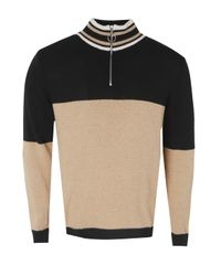 Boohoo - Multicolor Half Zip Funnel Neck Colour Block Knitted Jumper for Men - Lyst
