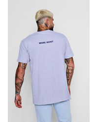 Boohoo Oversized Model Scout Slogan T Shirt In Gray For Men Lyst