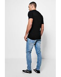 Boohoo - Blue Skinny Fit Jeans With Zip Hem And Raw Seam for Men - Lyst
