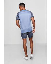 BoohooMAN - Blue Active Raglan Colour Block Gym T-shirt for Men - Lyst