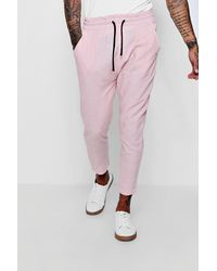 8f9518bb8b2d Boohoo 100% Linen Drawstring Jogger Style Trouser in Pink for Men - Lyst