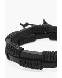 Boohoo - Black Double Layer Faux Leather Bracelet - Lyst