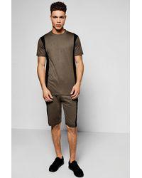Boohoo - Multicolor Colour Block T-shirt And Short Set for Men - Lyst