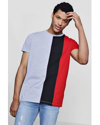 Boohoo - Red Three Panel Colour Block T-shirt for Men - Lyst