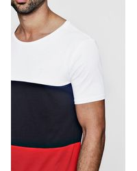 Boohoo - White Longline Colour Block T Shirt With Curve Hem for Men - Lyst