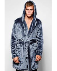 e4f23e45c4f8 Lyst - Boohoo Hooded Fleece Dressing Gown in Blue for Men