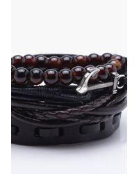 Boohoo - Multicolor Anchor Wrap Stack Bracelet for Men - Lyst