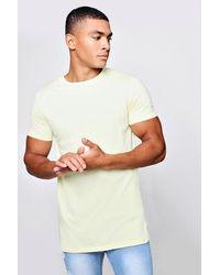 Boohoo - Yellow Longline Curved Hem T-shirt for Men - Lyst