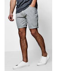 9557e421df93 Boohoo Cotton Twill Shorts With Turn Up Hem in Gray for Men - Lyst