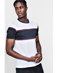 Boohoo - White Colour Block Chest Panel T Shirt for Men - Lyst