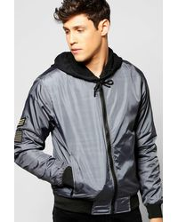 Boohoo - Gray Badged Bomber for Men - Lyst