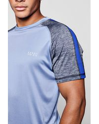 Boohoo - Blue Active Raglan Colour Block Gym T-shirt for Men - Lyst
