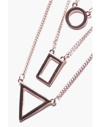 Boohoo - Metallic Gold Geo Charm Necklace - Lyst