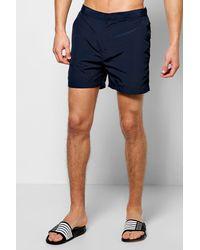 Boohoo - Blue Smart Taslan Swim Shorts for Men - Lyst