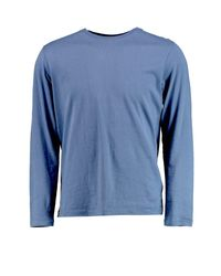 Boohoo - Blue Long Sleeve Crew Neck T Shirt for Men - Lyst