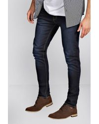 Boohoo - Blue Indigo Super Skinny Fit Jeans for Men - Lyst