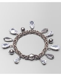 Bottega Veneta - Metallic Bracelet In Silver And Stones - Lyst