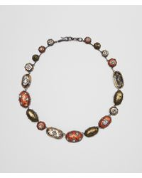 Bottega Veneta - Multicolor Natural Brown Antique Silver Stellular Necklace - Lyst