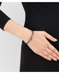 Bottega Veneta - Metallic Bracelet In China Red Silver Enamel, Intrecciato Details - Lyst